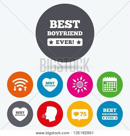 Wifi, like counter and calendar icons. Best boyfriend and girlfriend icons. Heart love signs. Award symbol. Human talk, go to web.