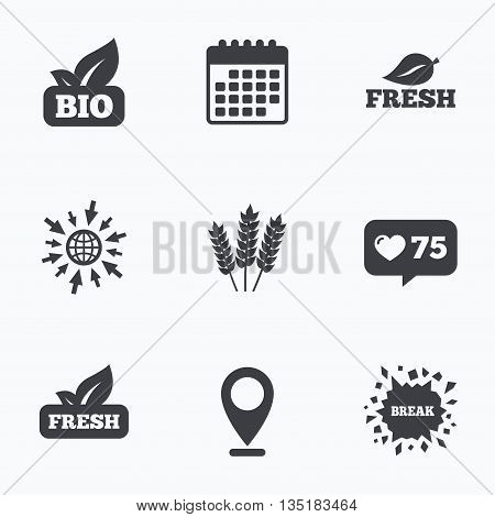 Calendar, like counter and go to web icons. Natural fresh Bio food icons. Gluten free agricultural sign symbol. Location pointer.