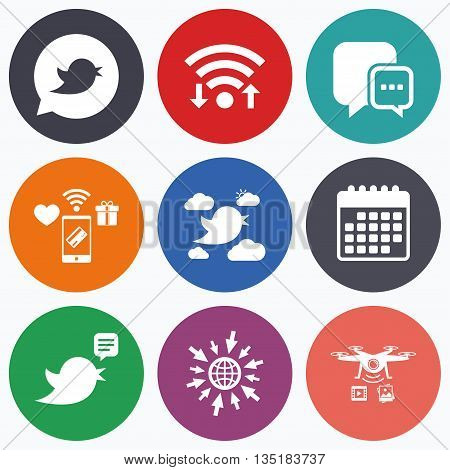 Wifi, mobile payments and drones icons. Birds icons. Social media speech bubble. Short messages chat symbol. Calendar symbol.