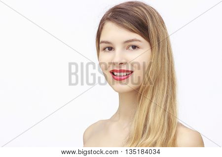 close-up portrait of naked young beautiful woman isolated on white background