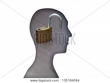 human figure with padlock image. concept image for the purpose of an open and positive mind accept challenges and business opportunities