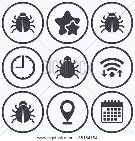 Clock, wifi and stars icons. Bugs vaccination icons. Virus software error sign symbols. Calendar symbol.