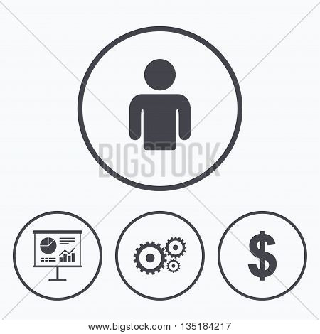 Business icons. Human silhouette and presentation board with charts signs. Dollar currency and gear symbols. Icons in circles.