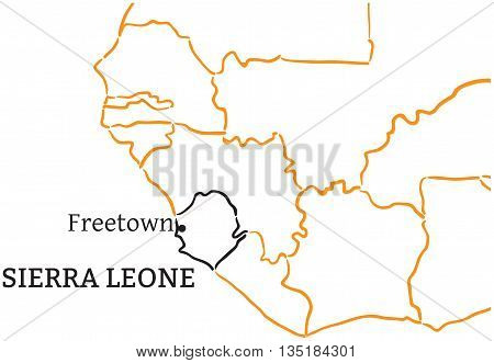 Sierra Leone country with its capital Freetown in Africa hand-drawn sketch map isolated on white