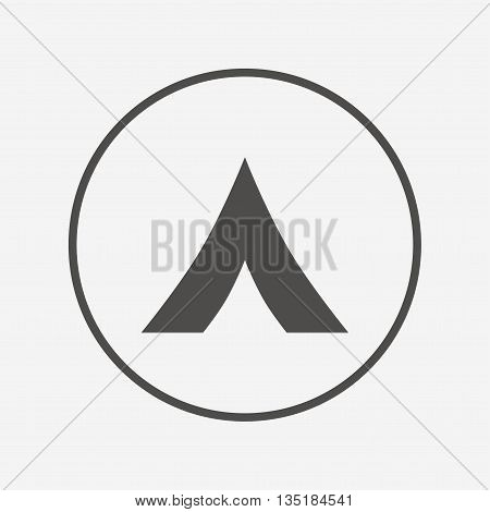 Tourist tent sign icon. Camping symbol. Flat camping icon. Simple design camping symbol. Camping graphic element. Round button with flat camping icon. Vector