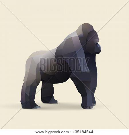 gorilla polygonal geometric african animal illustration vector