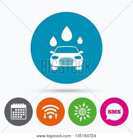 Wifi, Sms and calendar icons. Car wash icon. Automated teller carwash symbol. Water drops signs. Go to web globe.