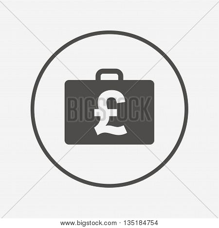 Case with Pounds GBP sign. Briefcase button. Flat diplomat icon. Simple design diplomat symbol. Diplomat graphic element. Round button with flat diplomat icon. Vector