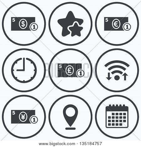 Clock, wifi and stars icons. Businessman case icons. Dollar, yen, euro and pound currency sign symbols. Calendar symbol.