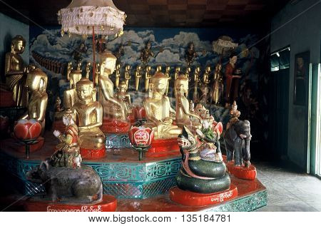 PAGAN / MYANMAR - CIRCA 1987: Buddist sculptures inside a room at the Shwezigon Pagoda in Pagan.