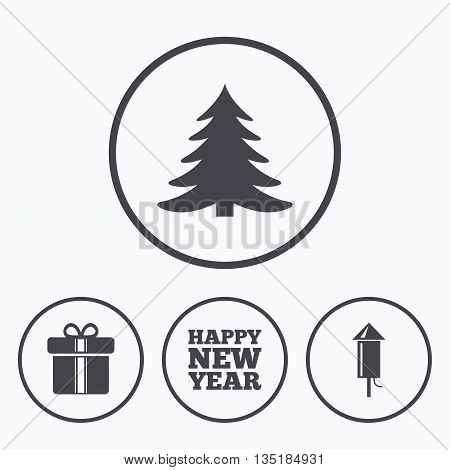 Happy new year icon. Christmas tree and gift box signs. Fireworks rocket symbol. Icons in circles.