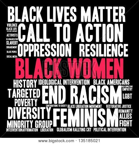 Black Women word cloud on a black background.