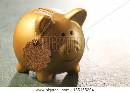 golden piggy bank with tag