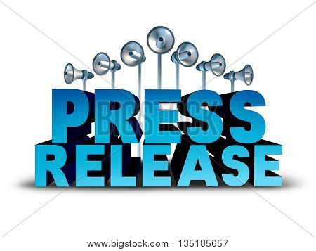 Press release news reporting and public relation communication concept as 3D illustration text with bullhorn or megaphone objects broadcasting an important message or media announcement sound bite.