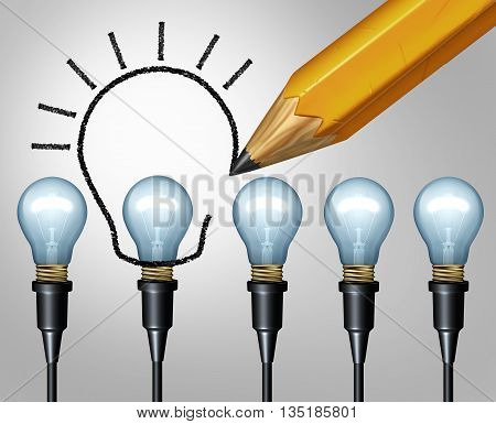Lightbulb pencil drawing increase innovation concept and bigger Idea symbol as upgrade sketch of a larger light bulb drawn as a creative imagination metaphor or increasing education solutions icon as a 3D illustration.