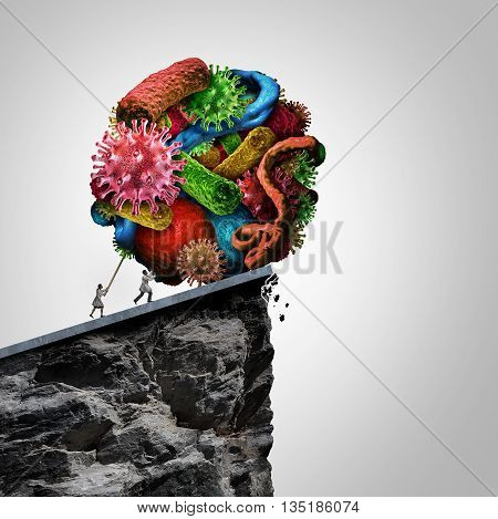Disease treatment research doctor concept as a doctor and health professional pushing a group of bacteria virus and malignant cells over a cliff as a medical and medicine symbol for cure and controlling illness with 3D illustration elements.