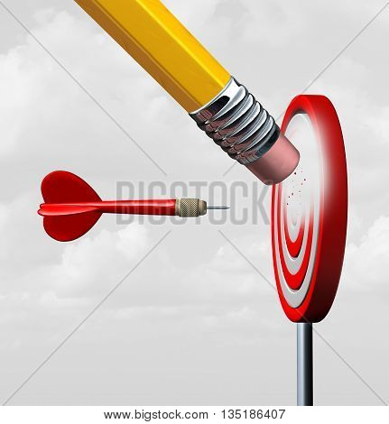 Business market loss and losing focus with industry change as a red dart heading towards a fading disappearing industry symbol as a pencil eraser erasing a target with 3D illustration elements.