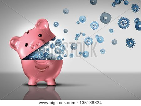 Bank business concept and banking technology as an open piggybank with technology gears and cog wheels emerging out as a financial and economic symbol for finance success and investing development as a 3D illustration.
