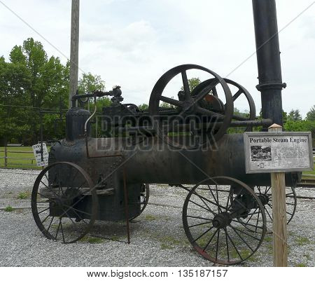 TOWNSEND, TENNESSEE - MAY 12: A Frick steam engine, once used for logging in the Great Smoky Mountains, sits at the Little River Railroad and Lumber Company Museum, Townsend, Tennessee, May 12, 2015.