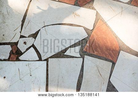 Tile ground make form old broke tile