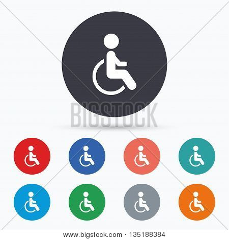 Disabled sign icon. Human on wheelchair symbol. Flat disabled icon. Simple design disabled symbol. Disabled graphic element. Circle buttons with disabled icon. Vector