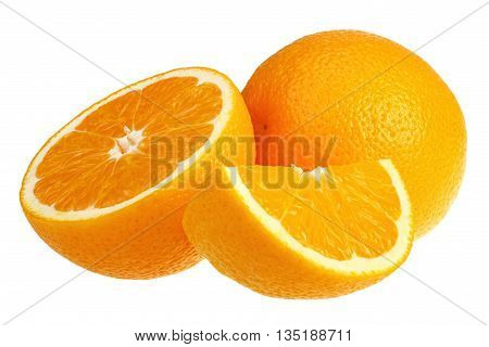 Fresh oranges on white background with clipping path