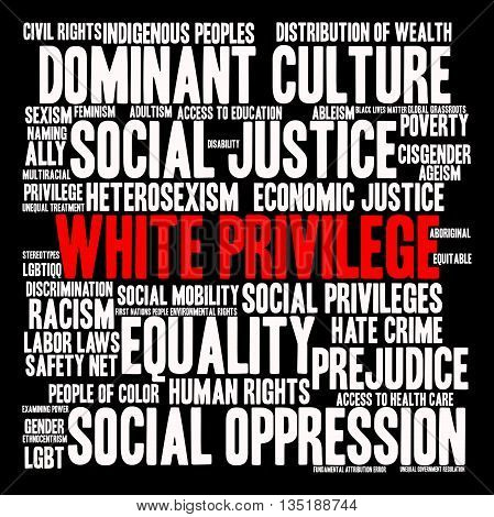 White Privilege word cloud on a black background.