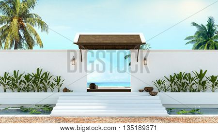 Gate to the beach 3d rendering nature