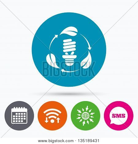 Wifi, Sms and calendar icons. Fluorescent lamp bulb with leaves sign icon. Energy saving. Economy symbol. Go to web globe.