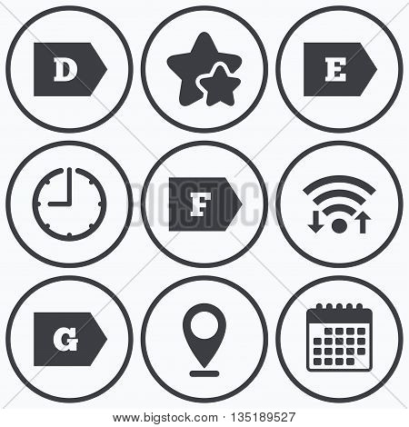 Clock, wifi and stars icons. Energy efficiency class icons. Energy consumption sign symbols. Class D, E, F and G. Calendar symbol.