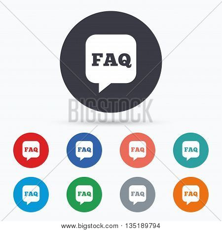 FAQ information sign icon. Help symbol. Flat faq icon. Simple design faq symbol. Faq graphic element. Circle buttons with faq icon. Vector
