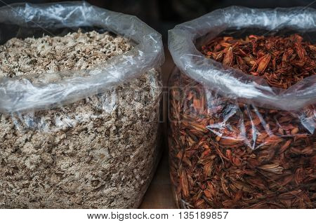 A shot of assortment of spices taken at a local street market in Guilin China.