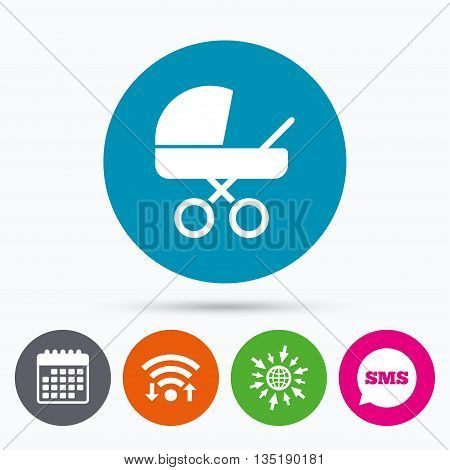 Wifi, Sms and calendar icons. Baby pram stroller sign icon. Baby buggy. Baby carriage symbol. Go to web globe.
