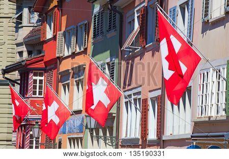 Swiss National Day on August 1 in Zurich, Switzerland.