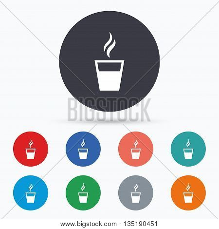 Coffee glass sign icon. Hot coffee button. Flat coffee icon. Simple design coffee symbol. Coffee graphic element. Circle buttons with coffee icon. Vector