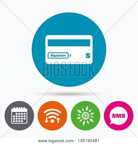 Wifi, Sms and calendar icons. Credit card sign icon. Debit card symbol. Virtual money. Go to web globe.