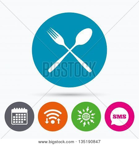 Wifi, Sms and calendar icons. Eat sign icon. Cutlery symbol. Fork and spoon crosswise. Go to web globe.