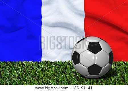 Soccer Ball On Grass With France Flag Background, 3D Rendering