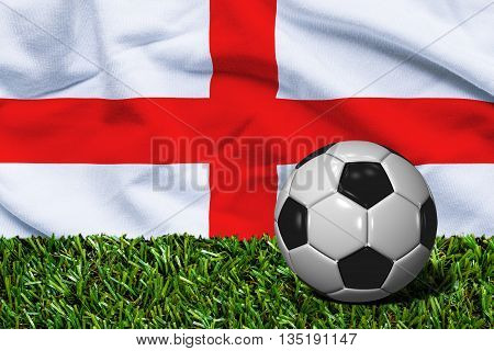 Soccer Ball On Grass With England Flag Background, 3D Rendering
