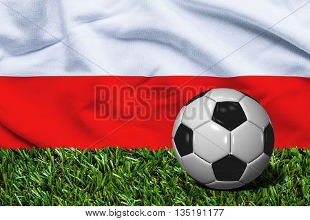 Soccer Ball On Grass With Poland Flag Background, 3D Rendering
