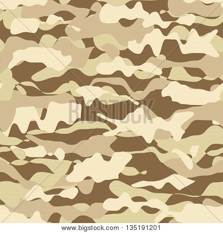 Military beige desert fashion seamless pattern, army pattern, camouflage pattern vector. Pattern swatches included in file.