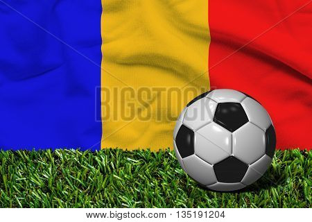 Soccer Ball On Grass With Romania Flag Background, 3D Rendering
