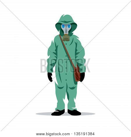 Man in protective suit and gas mask isolated under the white background