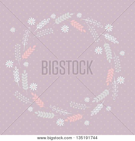 Floral frame, Soft color frame with herbs and flowers