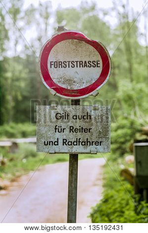 shield forest road. prohibited ban and riding