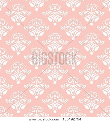 Seamless oriental ornament in the style of baroque. Traditional classic pink and white pattern