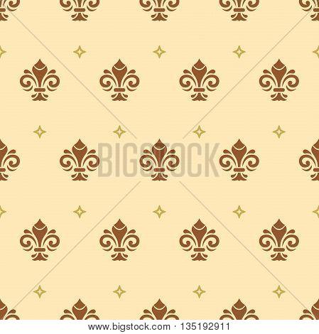 Seamless ornament. Modern geometric pattern with royal lilies