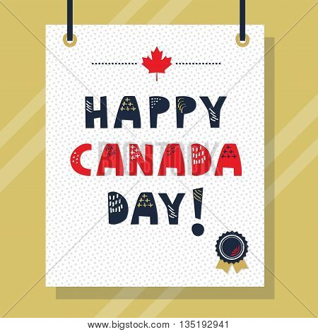 Cute doodle texture Happy Canada Day message on hanging paper and golden background wall