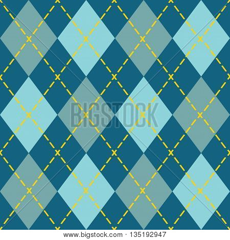 Trendy blue argyle seamless pattern - Modern design in teal blue and orange