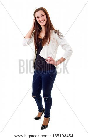 young casual beautiful woman, isolated in white